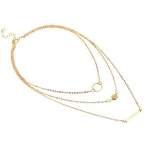 Gold Circle Bar Dot Layered Necklace